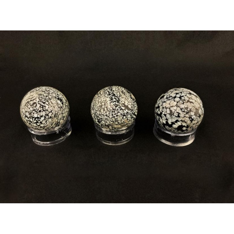 Healing Crystals - Snowflake Obsidian Spheres (Stand Included)