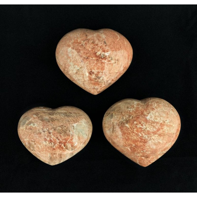 Healing Crystals - Peach Moonstone Hearts