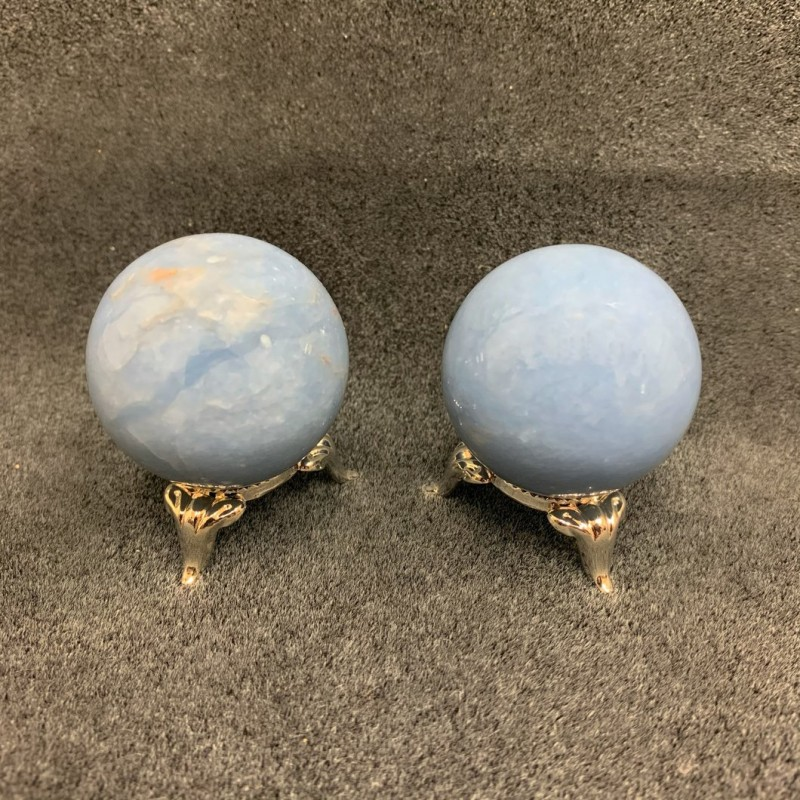 Healing Crystals - Angelite Spheres (Display Stand...