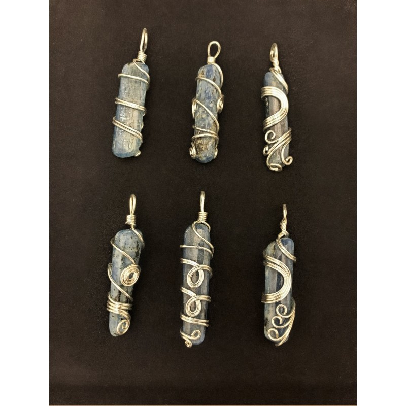 Healing Crystals - Blue Kyanite Wire Wrapped Pendants